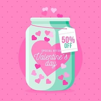 Flat design valentine's day sale with jar