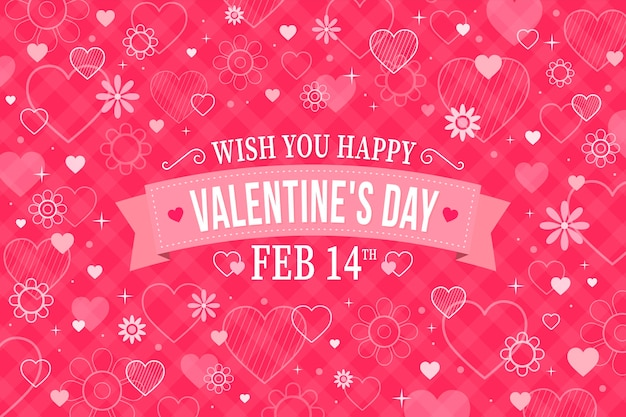 Flat design valentine's day wallpaper with date