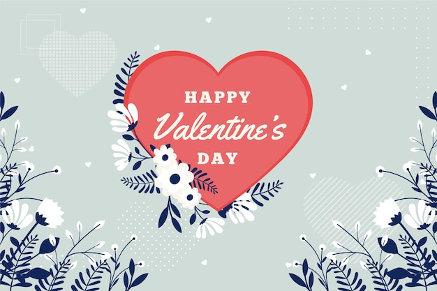 Flat design valentine's day wallpaper with greeting