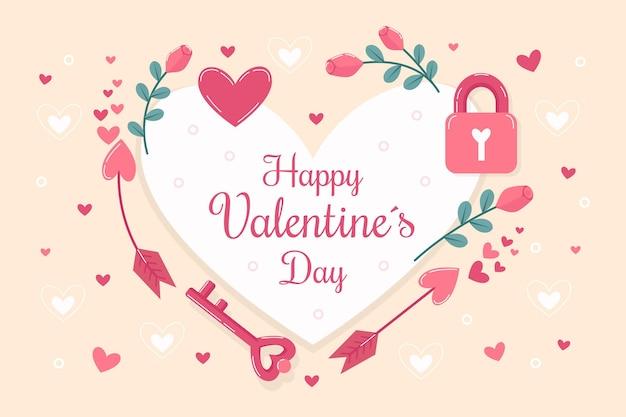 メッセージ付きフラットデザインバレンタインデーの壁紙