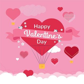 赤いハートのフラットなデザインのバレンタインデーの壁紙