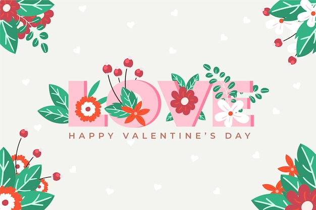 Flat design valentine's day wallpaper