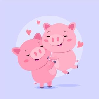 평면 디자인 발렌타인 데이 동물 커플
