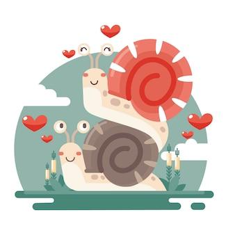 Плоский дизайн пара животных день святого валентина