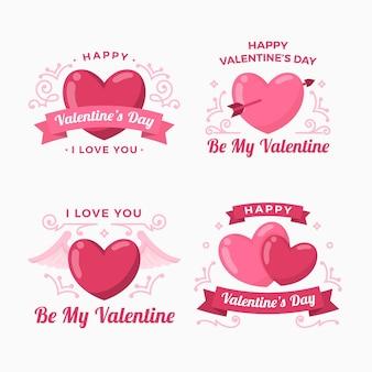 평면 디자인 발렌타인 데이 배지 컬렉션