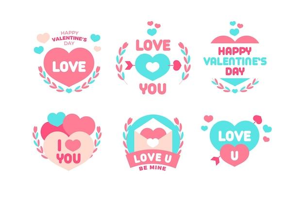 Плоский дизайн коллекции значков на день святого валентина