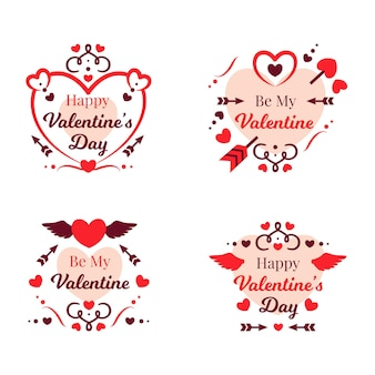 Flat design valentines day badge collection