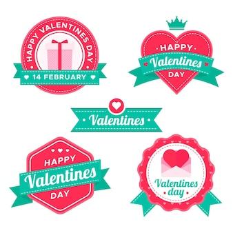 Collezione di badge san valentino design piatto