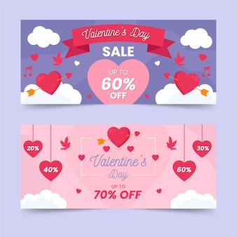 Flat design for valentines day banner concept