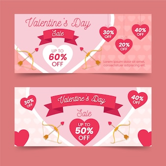 Flat design for valentines day banner