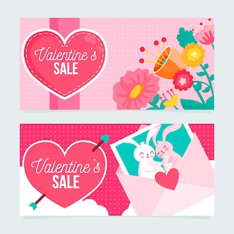 Flat design valentines day banners concept