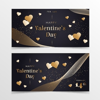 Flat design valentines day banners template