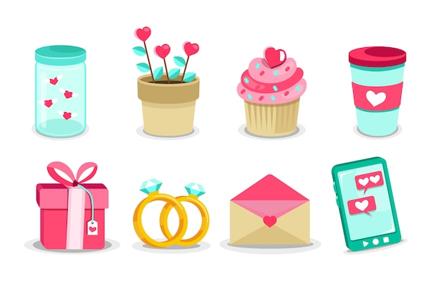 Flat design valentines day element collection