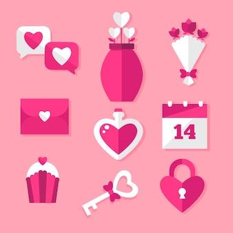 フラットなデザインバレンタインデー要素コレクション
