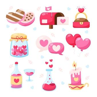 Collezione di elementi di san valentino design piatto
