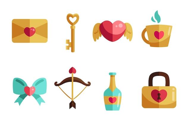 Плоский дизайн коллекции элементов дня святого валентина
