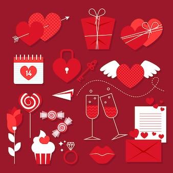 Flat design valentines day element collection
