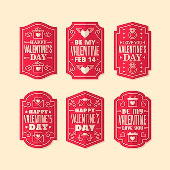 Flat design valentines day label collection