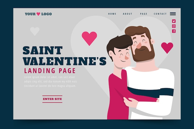 Flat design valentines day landing page