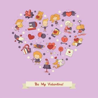 평면 디자인 발렌타인 사랑과 로맨스 아이콘 엽서