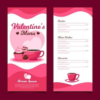 Flat design valentines day menu template