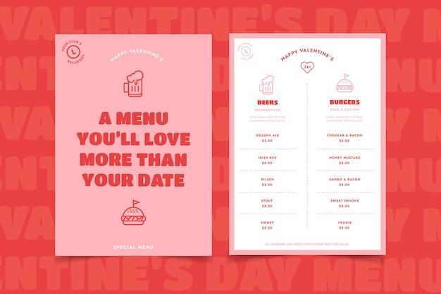 Modello di menu di san valentino design piatto