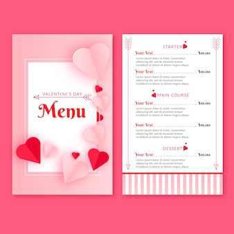 Flat design for valentines day menu