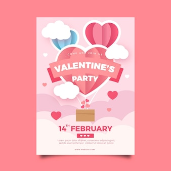 Flat design valentines day party poster template