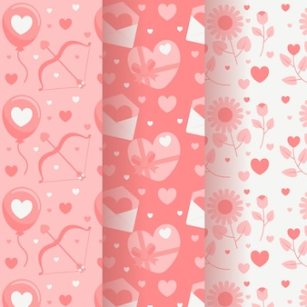 Flat design valentines day pattern collection theme