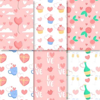 Flat design valentines day pattern collection