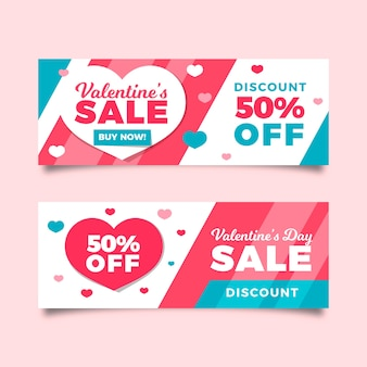 Flat design valentines day sale banners template