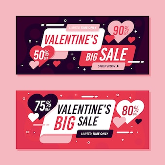 Flat design valentines day sale banners