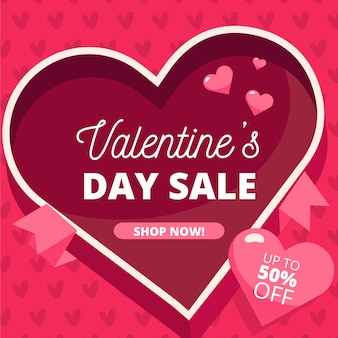 Flat design valentines day sale concept