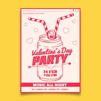Flat design valentines party poster template