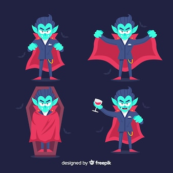 Flat design of vampire character collection
