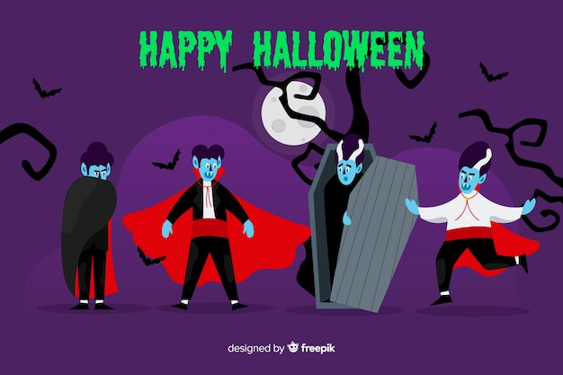 Flat design vampire character collection