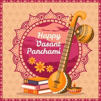 Flat design vasant panchami Free Vector