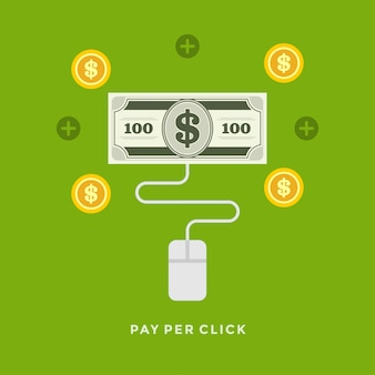 Flat design vector business illustration pay per click on-line shopping