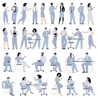 Плоский дизайн векторных персонажей мультфильма мужчина и женщины, работающие в офисе, коворкинг-пространстве или удаленно дома, внештатный.