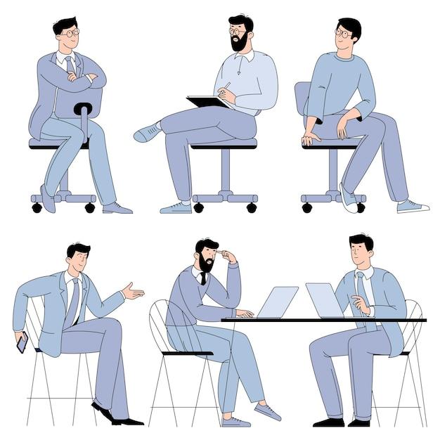 Плоский дизайн векторных мультипликационных персонажей молодых женщин, работающих в офисе