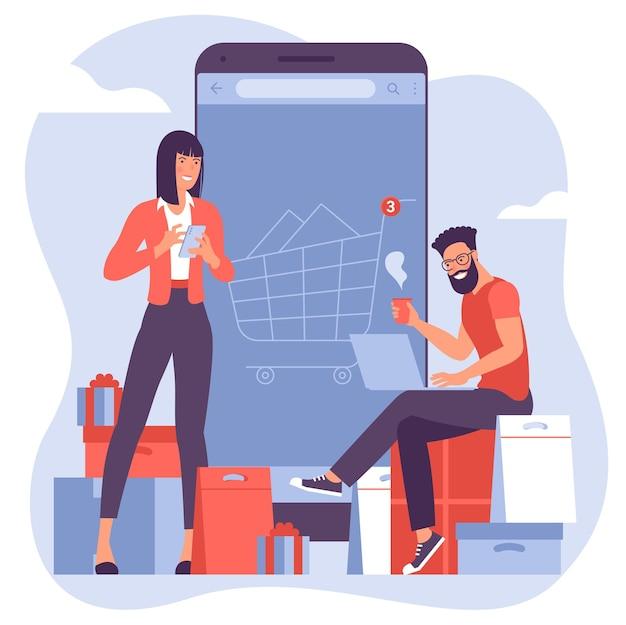 オンラインおよびモバイルショッピングのためのフラットなデザインベクトルの概念