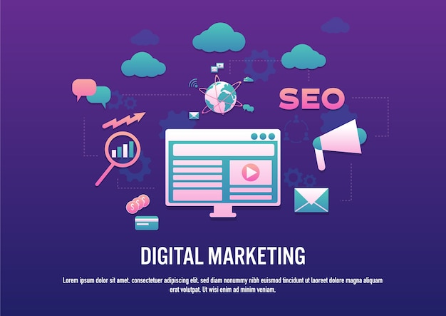 Flat design vector of digital marketing concept