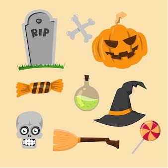 Flat design vector halloween element collection
