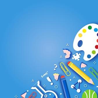 교육의 평면 디자인 벡터 일러스트 레이 션 개념입니다. 과학 및 예술 스티커가 있는 가로 배너입니다.