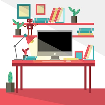 Flat design vector illustration of modern creative office workspace,workplace with computer.