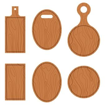 Плоский набор векторных иллюстраций дизайна пустых деревянных досок для резки и сервировки текстуры, изолированных на белом фоне.