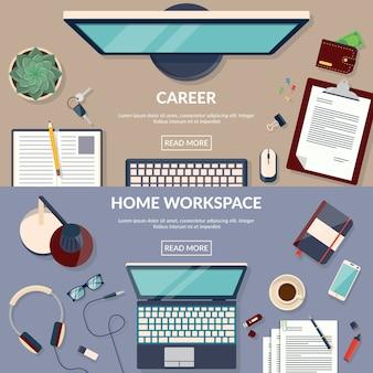 Flat design vector illustration of workspace