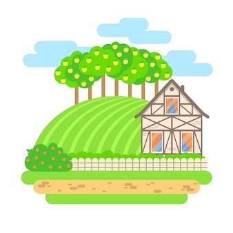 フラットなデザインベクトルの風景イラスト。フィールドとリンゴの木のある村の家。農業、農業、有機製品のコンセプトです。