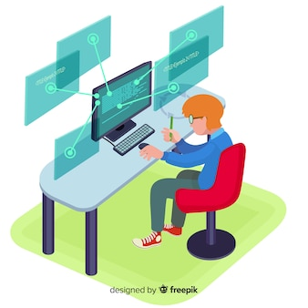 Flat design vector man programmer working