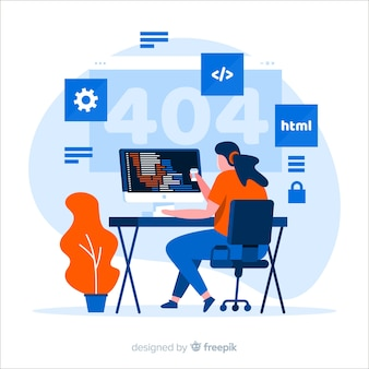 Flat design vector with programmer working